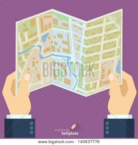 Hands holding city map flat design vector illustration. Location map, route, direction, travel destination concepts for tourist navigation, gps.