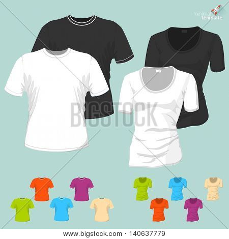 Male and female blank T-short vector template.