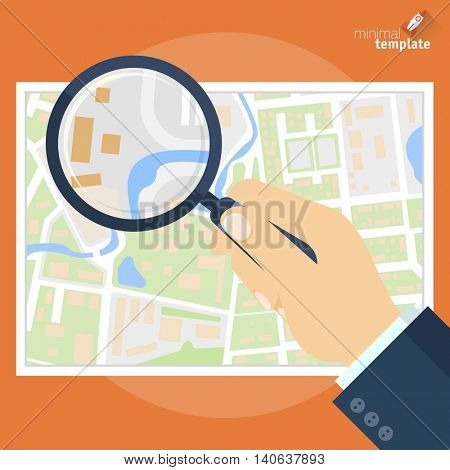 Human hand holding magnifying looking for best travel destination or route. Flat modern design style vector illustration travel icon concept.