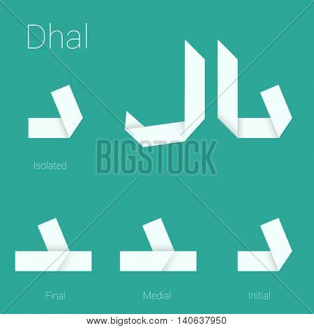 Folded paper Arabic typeface. Letter Dhal. Initial, middle, final and isolated forms.