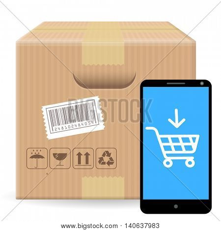 Brown closed carton parcel packaging box with fragile signs and bar code  isolated on white background with gadget and shop online icon. Vector template for online shopping, shipping, delivery.