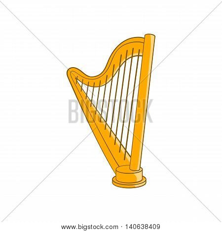 Harp icon in cartoon style isolated on white background. Musical instrument symbol