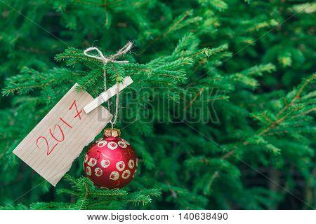 Closeup Big Red Balls On The Fur-tree