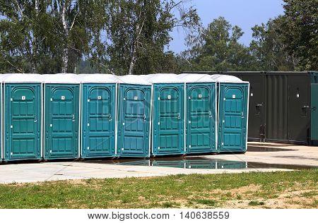 Outdoor mobile autonomous toilets made of plastic