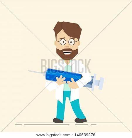 Smiling doctor with big syringe in his hands. Medical workers are ready to make a vaccine. A man in a smock and wearing glasses. Vector cartoon style flat