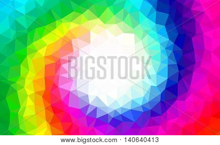 Abstract background - Colorful Geometrical shapes, Polygonal vector texture - Rainbow spiral