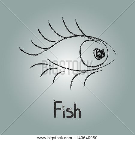 Fish and eye, vector image with fish.