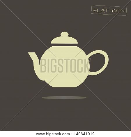 Light tea pot icon on black, vector illustration