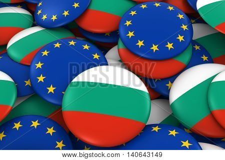 Bulgaria And Europe Badges Background - Pile Of Bulgarian And European Flag Buttons 3D Illustration