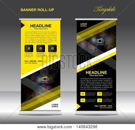 Yellow and black Roll Up Banner template vector standy design display advertisement flyer for business