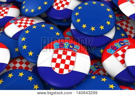Croatia And Europe Badges Background - Pile Of Croatian And European Flag Buttons 3D Illustration