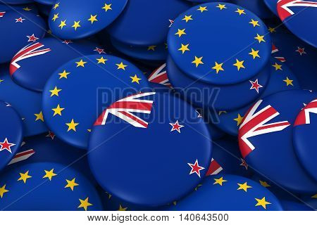 New Zealand And Europe Badges Background - Pile Of New Zealand And European Flag Buttons 3D Illustra
