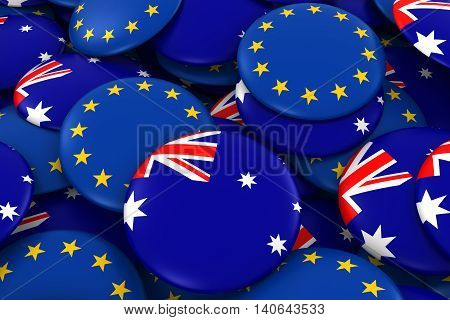 Australia And Europe Badges Background - Pile Of Australian And European Flag Buttons 3D Illustratio