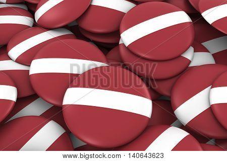 Latvia Badges Background - Pile Of Latvian Flag Buttons 3D Illustration