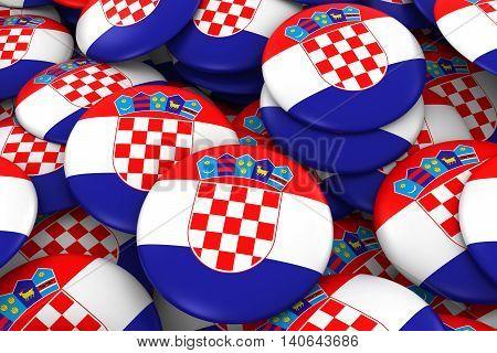 Croatia Badges Background - Pile Of Croatian Flag Buttons 3D Illustration