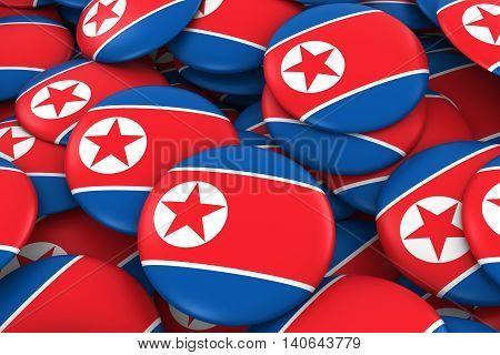 North Korea Badges Background - Pile Of North Korean Flag Buttons 3D Illustration