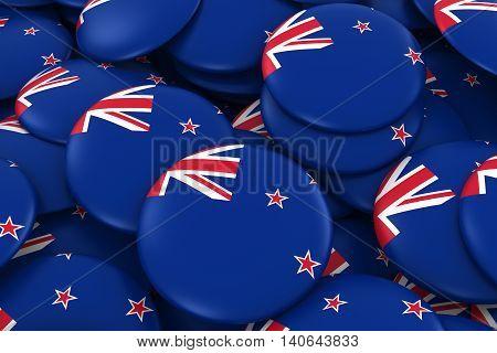 New Zealand Badges Background - Pile Of New Zealand Flag Buttons 3D Illustration