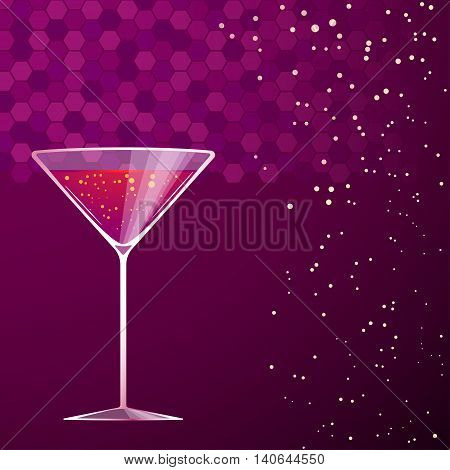 illustration of violet cocktail in martini glass on violet background
