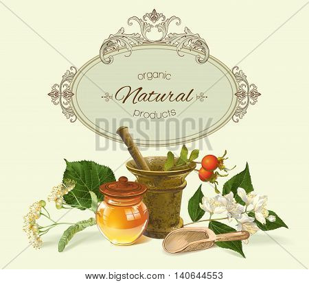 Vector vintage healf care banner with mortar, honey and healing plants. Design for herbal tea, natural cosmetics, health care products, homeopathy, aromatherapy. With place for text.