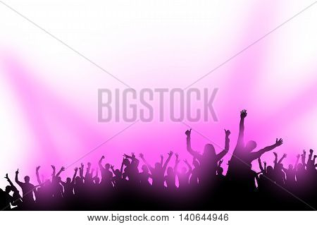 illustraion of crowd of dancing people with violet lights