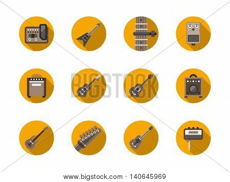 Acoustic, bass and electric guitars samples. Assortment of guitar stuff equipment. Musical instruments theme. Round flat color style vector icons collection.