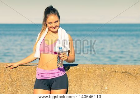 Woman Drinking Water After Sport Gym Outdoor