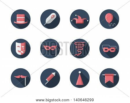 Carnival mask, caps, confetti and flags, balloon and other accessories and elements for thematic party. Masquerade, celebration, festive events. Round flat color style vector icons collection.