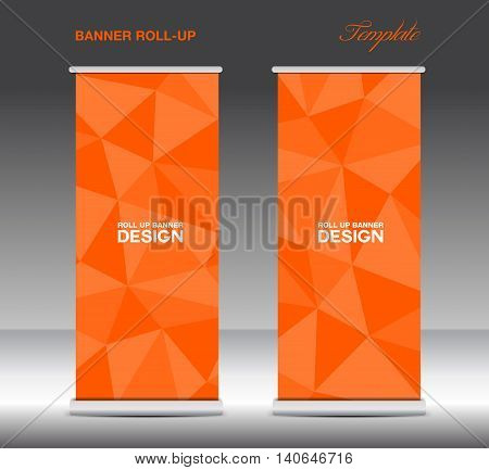 Orange Roll Up Banner template vecto stand layout display advertisement flyer design polygon background