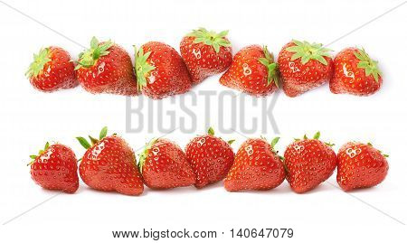 Line of ripe red strawberries isolated over the white background, set of two different foreshortenings
