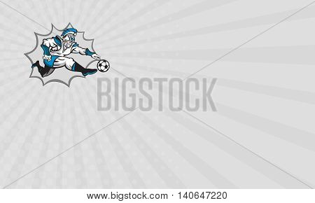 Business card showing illustration of centurion roman warrior soldier gladiator soccer player kicking football ball viewed from side on isolated background done in retro style.