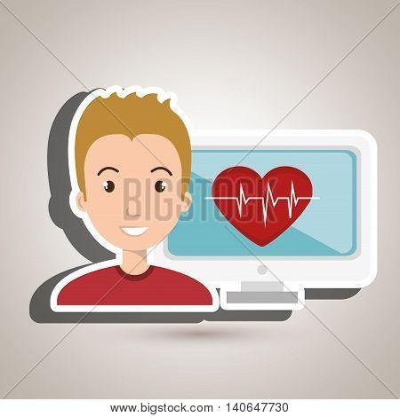 man cardiology screen tecnology graphic vector illustration