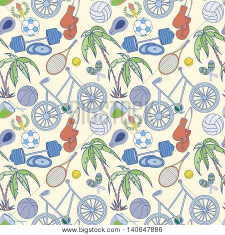 Seamless sport pattern can be used for wallpaper, website background, wrapping paper. Sport equipment bright pattern. Sport competition design. Sport concept.
