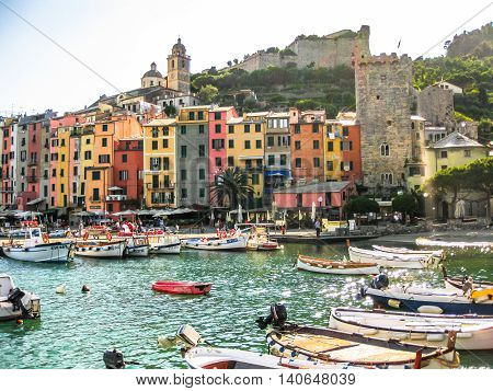 Porto Venere, La Spezia, Italy - June 3, 2010: traditional boats in harbor at Porto Venere, Cinque Terre National Park, Unesco Heritage.