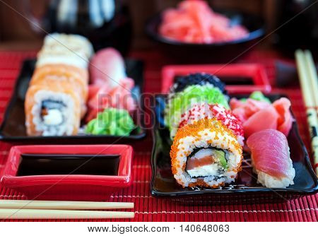 Assorted Of Fresh Delicious Sushi And Rolls