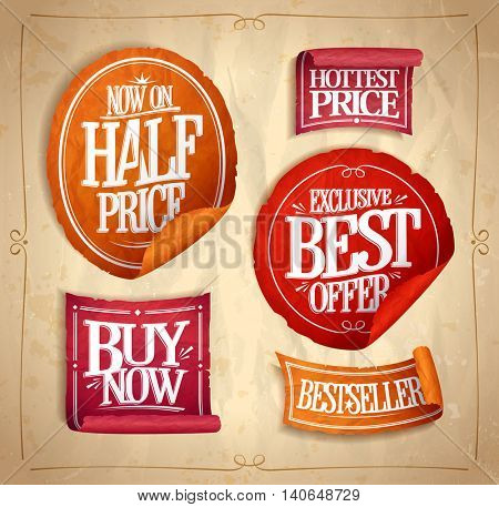 Half price save, exclusive best offer, hottest price, buy now, best selller, promotional sale stickers and ribbons set, vintage style