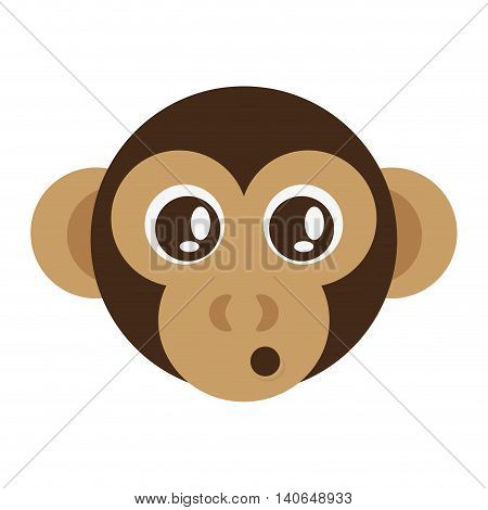 flat design cute monkey cartoon icon vector illustration