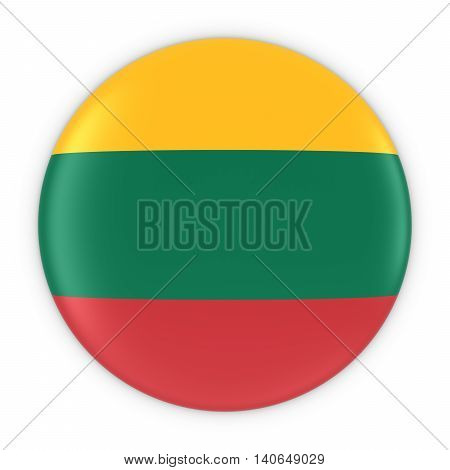 Lithuanian Flag Button - Flag Of Lithuania Badge 3D Illustration