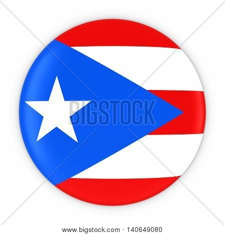 Puerto Rican Flag Button - Flag Of Puerto Rico Badge 3D Illustration