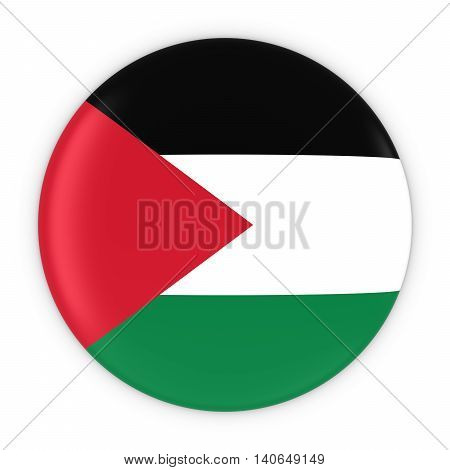 Palestinian Flag Button - Flag Of Palestine Badge 3D Illustration