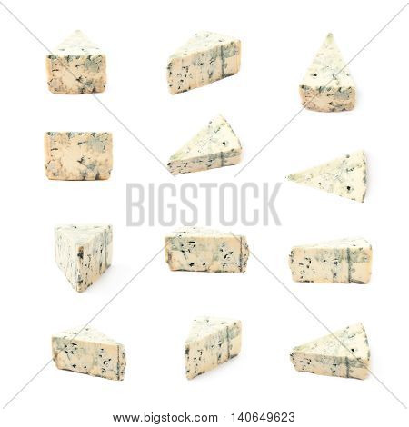 Blue roquefort cheese isolated over the white background, set of multiple different foreshortenings