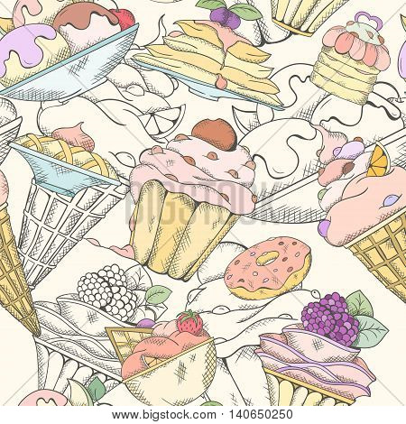Seamless pattern of cakes pies and ice cream. Cake and ice cream pattern can be used for wallpaper, website background, wrapping paper. Hand drawn illustration. Cake menu design. Cupcakes concept