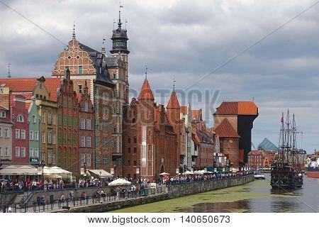 Gdansk, Poland, July 16, 2016: At the riverfront in Gdansk, Poland.