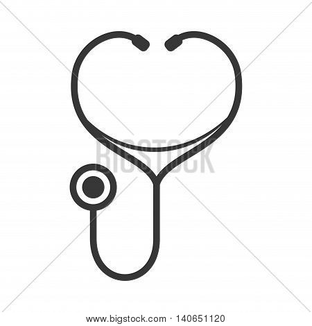 Medical and Health care concept represented by stethoscope and heart icon. Isolated and flat illustration