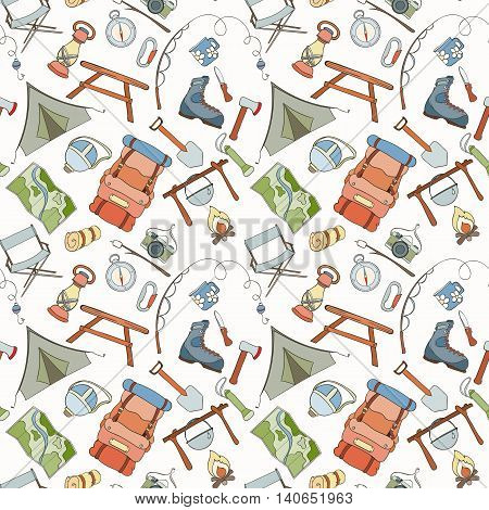Seamless Pattern Of Camping Gear Elements Can Be Used For Wallpaper Website Background Wrapping