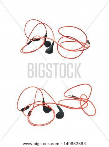 Pair of red headphones isolated over the white background, set of two different foreshortenings