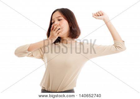 Sleepy Young Asian Woman Yawn