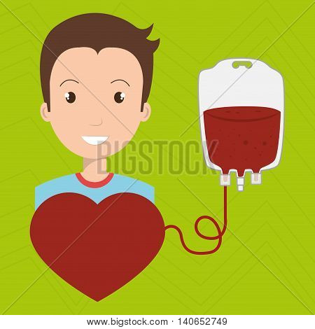 man blood donor red graphic vector illustration