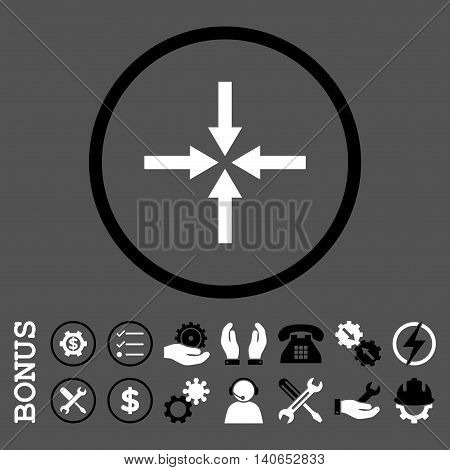 Impact Arrows vector bicolor icon. Image style is a flat pictogram symbol inside a circle, black and white colors, gray background. Bonus images are included.