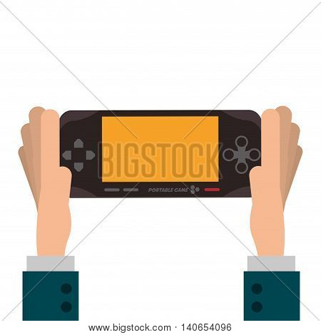 flat design hands holding mobile video game console icon vector illustration
