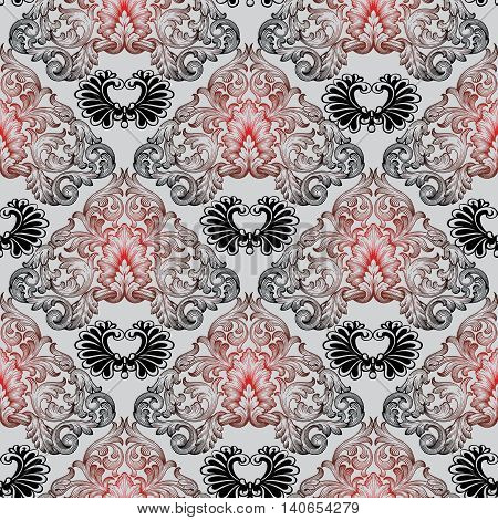 Luxury baroque vector seamless pattern with black and red volumetric 3d  ornament. Vintage element for design in Victorian style. Ornate luxury floral decor for textile and fabric.Endless stylish texture